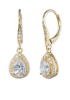 Gold-Tone Anne Klein Crystal Pear Drop Earrings