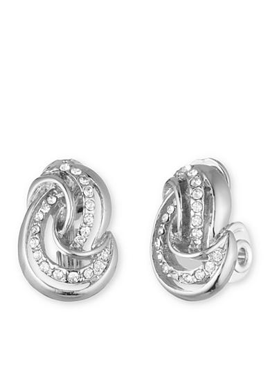 Anne Klein Silver-Tone Knot Button Clip Earrings