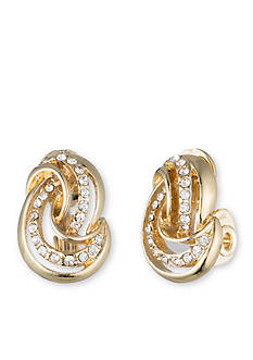 Anne Klein Gold-Tone Knot Button Clip Earrings