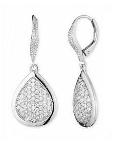 Anne Klein Silver-Tone Pear Drop Earrings