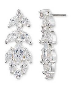 Anne Klein Silver-Tone Cubic Zirconia Cluster Drop Earrings