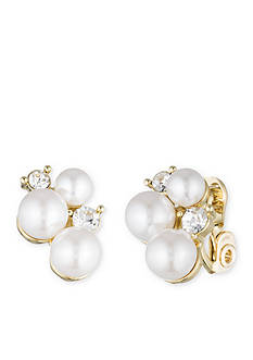 Anne Klein Gold-Tone Anne Klein Pearl Button Clip Earrings