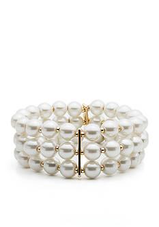 Anne Klein Gold-Tone Three Row Stretch Bracelet