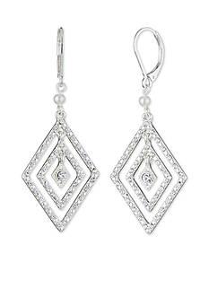 Anne Klein Silver-Tone Pearl Drop Earrings