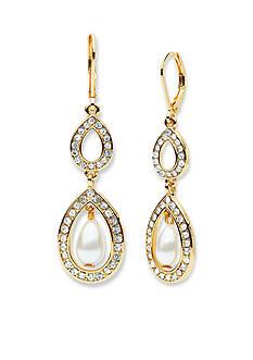 Anne Klein Gold-Tone Pearl Double Drop Earrings