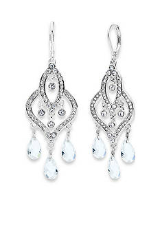 Anne Klein Silver-Tone Crystal Chandelier Earrings