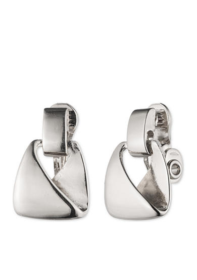 Anne Klein Silver-Tone Small Clip Drop Earrings