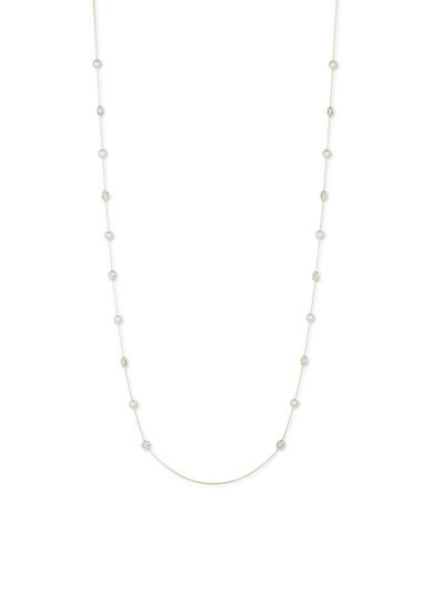 Anne Klein Gold-Tone Pearl and Crystal Long Necklace
