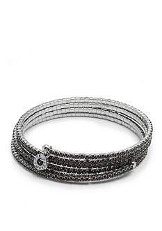 Anne Klein Hematite-Tone Multi-Row Stone Coil Bracelet