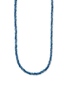 Anne Klein Sliver-Tone Blue Long Necklace
