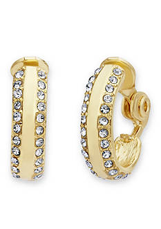 Anne Klein Gold-Tone Stone Hoop Clip Earrings