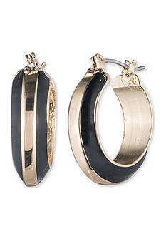 Anne Klein Gold-Tone Jet Hoop Earrings