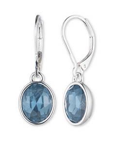 Anne Klein Silver-Tone Blue Drop Earrings