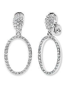 Anne Klein Silver-Tone Crystal Clip On Drop Earrings