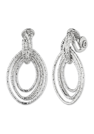 Anne Klein Silver-Tone Clip Drop Earrings