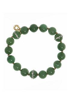Anne Klein Gold-Tone Green Stretch Bracelet