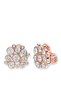 Anne Klein Rose Gold Tone Cluster Clip Earrings