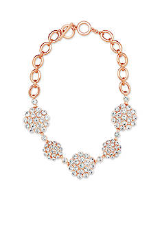 Anne Klein Rose Gold Tone Cluster Stone Necklace