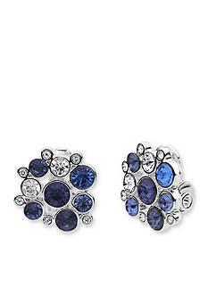 Anne Klein Silver Tone Blue Cluster Clip Earrings