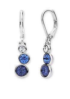 Anne Klein Silver Tone Blue Triple Drop Earrings