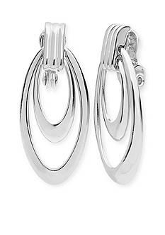 Anne Klein Silver Tone Orbital Drop Clip Earrings