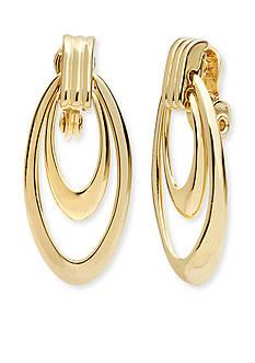 Anne Klein Gold Tone Orbital Drop Clip Earrings