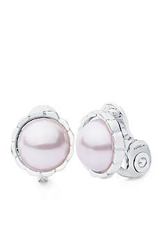 Anne Klein Silver Tone Pink Pearl Clip Earring
