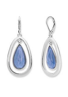 Anne Klein Silver-Tone Blue Teardrop Earrings