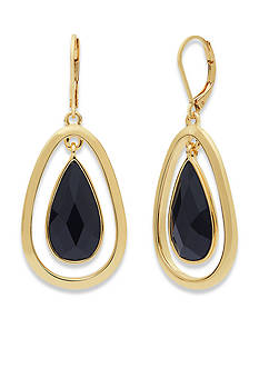 Anne Klein Gold-Tone Jet Teardrop Earrings