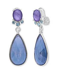 Anne Klein Silver-Tone Blue Teardrop Clip Earrings