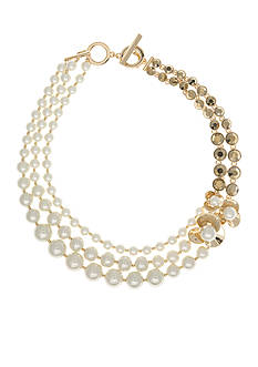 Anne Klein Gold Tone Drama Pearl Necklace