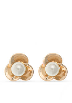 Anne Klein Gold Tone Pearl Flower Stud Earrings