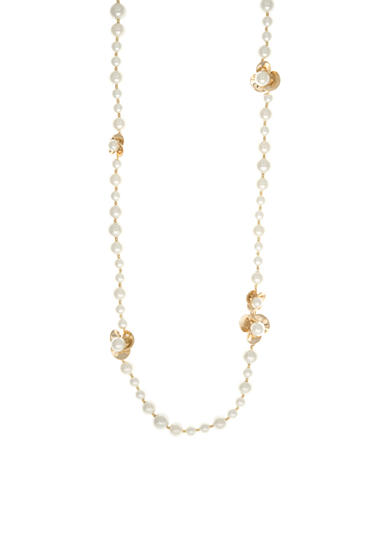Anne Klein Gold Tone Long Pearl Flower Necklace