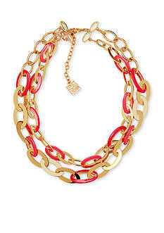 Anne Klein Gold-Tone Two Row Coral Link Collar
