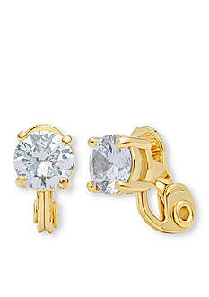 Anne Klein Gold Tone CZ Stud Clip Earrings