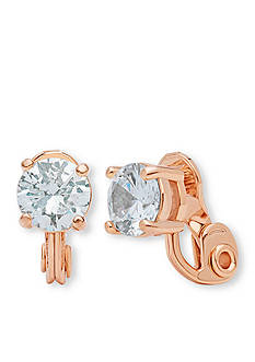 Anne Klein Rose Gold Tone CZ Stud Clip Earrings