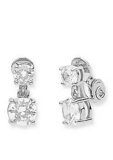Anne Klein Silver-Tone Double Drop Clip Earrings