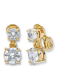 Anne Klein Gold-Tone Double Drop Clip Earrings