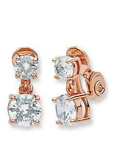 Anne Klein Rose Gold-Tone Double Drop Clip Earrings