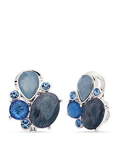 Anne Klein Silver-Tone Blue Clip Earrings