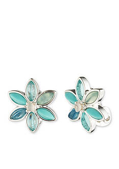 Anne Klein Silver-Tone Blue Flower Clip Earrings