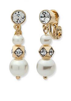 Anne Klein Gold Tone Triple Drop Pearl Clip Earrings