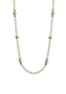 Anne Klein Gold Tone 42 Inch Pearl Strand Necklace