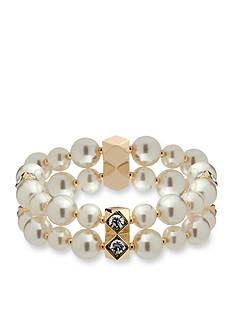 Anne Klein Gold Tone 2 Row Pearl Stretch Bracelet