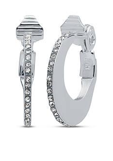 Anne Klein Silver Tone Crystal Hoop Clip Earrings