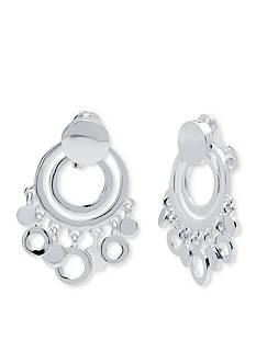 Anne Klein Silver Tone Shaky Clip Earrings