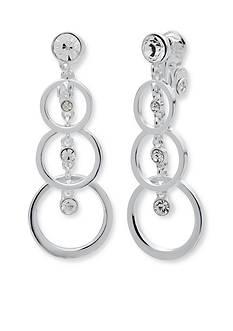 Anne Klein Silver Tone Linear Stone Clip Earrings