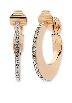 Anne Klein Gold Tone Crystal Hoop Clip Earrings