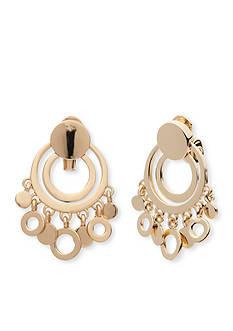 Anne Klein Gold Tone Shaky Clip Earrings