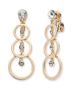 Anne Klein Gold Tone Crystal Linear Clip Earrings
